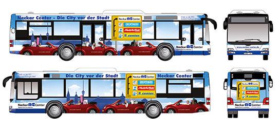 Neckar Center – Beschriftung Bus