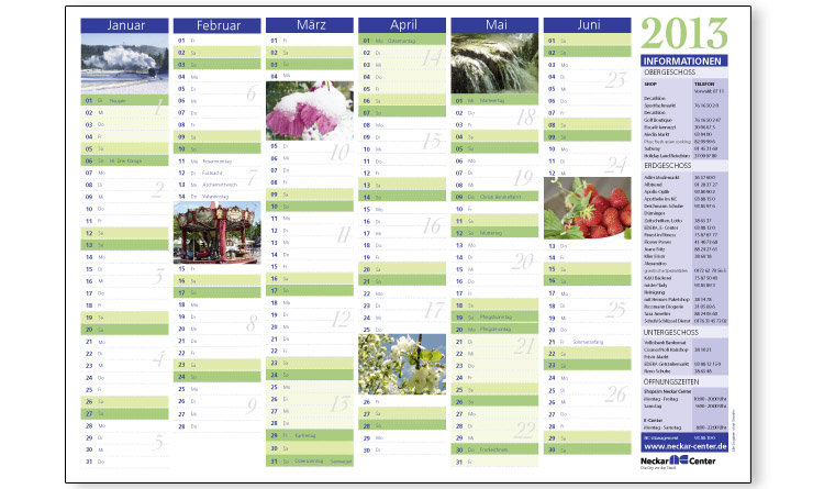Neckar Center – Kalender